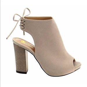 Chase + Chloe Shoes - Chase + Chloe Marcy Lace Up Suede Heeled Booties